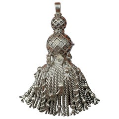 Exceptional Hermès Brooch Pendant Lapel Pin Passementerie Tassel Silver RARE