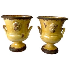 Exceptional Pair of French Anduze / Yellow Glazed Terracotta Medallion Urns