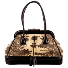 Exotic Prada Doctor Frame Bag Purse with Extra Compartment and Lock & Keys