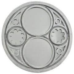 Extra Large Round Swedish Style Mirror with Gray Blue Paint