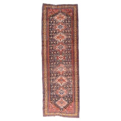 Extremely Fine Antique Qashkai Persian Runner Rug, Hand Knotted, circa 1880