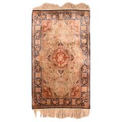 Extremely Fine Antique Turkish Signed Hereke Rug, Silk on Silk, circa 1900