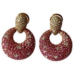 Eye-catching 18 Karat Pink Gold Earrings Pink Sapphire and Diamonds