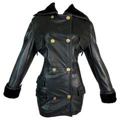 F/W 1993 Gianni Versace Black Leather Bondage Corset Sleeves Jacket Coat