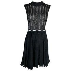 F/W 1993 Gianni Versace Sheer Black Cut-Out Knit & Silk Mini Dress