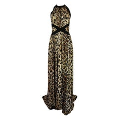 Fall 2014 Balmain Full Length Leopard Silk Jersey Backless Halter Dress
