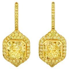 Fancy Yellow Diamond Drop Earrings, 4.91 Carat
