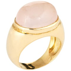 Faraone Mennella Rose Quartz Ring 14 Karat Yellow Gold RFMAS Estate Fine Jewelry