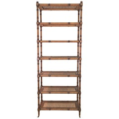 Faux Bamboo Étagère with Caned Shelves