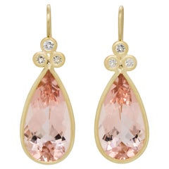 Faye Kim 18 Karat Gold Morganite and Diamond Earrings
