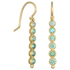 Faye Kim 18 Karat Gold Paraiba Tourmaline and Aquamarine Hinged Earrings