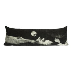 """Felted, Modern Rustic Wool and Silk, Black and White """"Luna"""" Body Pillow in Stock"""