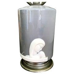 """Female Figure in Profile,"" Rare Art Deco Boudoir Lamp by Lenox in Gray & White"