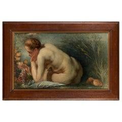 Female Nude Copied from J.Jordaens' Allegory of Abundance, Oil on Canvas