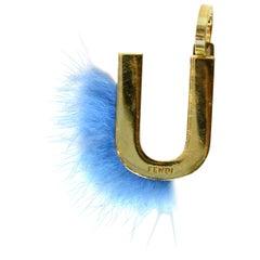 Fendi Gold/Blue Mink Fur-Trimmed U Initial Bag Charm