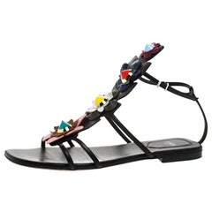 Fendi Multicolor Leather Flowerland Ankle Strap Gladiator Flat Sandals Size 38