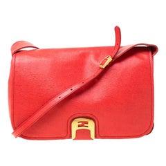 Fendi Red Orange Leather Chameleon Crossbody Bag
