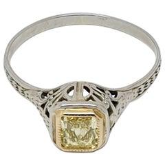 Filigree 0.30 Carat Princess Cut Yellow Diamond Ring 14 Karat Gold