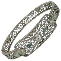 Filigree 14-Karat White Gold and Diamond Art Deco Bracelet