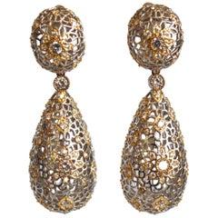 Filigree and Zircon Clip Earrings