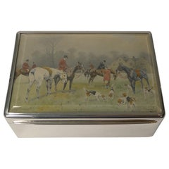 Fine Antique English Sterling Silver Cigar Box, Hunt Scene by George Wright