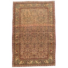 Fine Antique Ivory Tehran Persian Rug, Hand Knotted, circa 1900