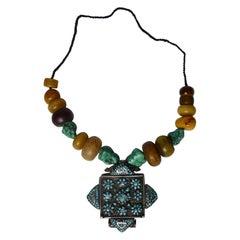 Fine Antique Tibetan Silver Turquoise Gau Box necklace 中国古董