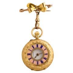 Fine Enameled Gold Half Hunter Case Pocket Watch, 1880s