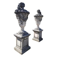 Fine Pair of Italian Carved Stone Garden Vases with Bases