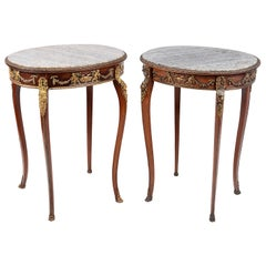 Fine Quality Near Pair French Marble Topped Side Tables. in the Manner of Linke