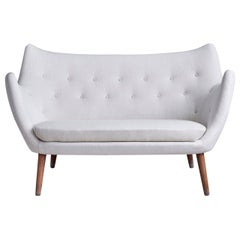 "Finn Juhl ""The Poet"" Two-Seat Sofa with White Wool Upholstery, Denmark, '1950s'"