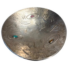 Finzi Silver Bowl with Stones Inserted, circa 1950s