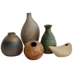 Five-Piece Collection of Diminutive Studio Stoneware Pots