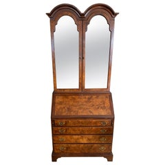 Flame Mahogany Secretary Secrétaire Two-Piece with Mirrored Top