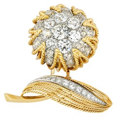 Floral Diamond and Gold Brooch by Van Cleef & Arpels, 18.00 Carat
