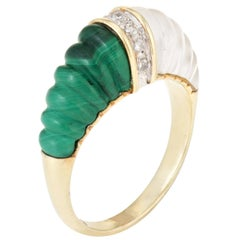 Fluted Rock Crystal Malachite Diamond Dome Ring Vintage 14k Yellow Gold Estate