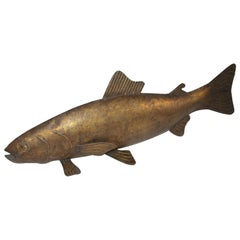 Folk Art Fish Sculpture Gilded Metal