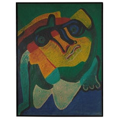Follower of Bengt Lindstrom, Composition Deformed Head, Acrilic on Foamed Paper