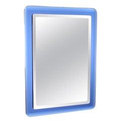 Fontana Arte Mid-Century Rectangular Blue Glass Wall Mirror, Italy, 1960s