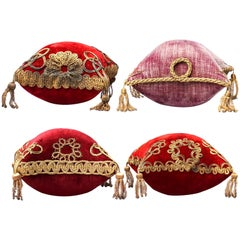 Four 19th Century French Silk Velvet Red and Purple Marriage Display Cushions