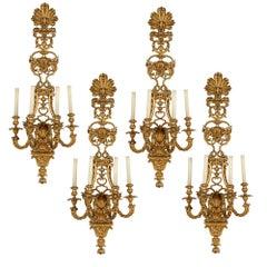 Four Large Louis XV Style Gilt Bronze Sconces