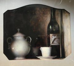 Still Life with Coffee Cup - Original Oil on Canvas by F. Vinea - 1880/90s