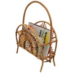Franco Albini Style Bamboo and Rattan Sunburst Magazine Rack / Stand