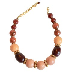 Francoise Montague Burnt Sienna, Blush, and Chocolate Glass Bead Necklace
