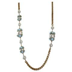 Francoise Montague Glass Pearl and Blue Pate de Verre Sautoir Necklace