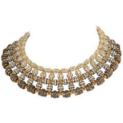 Francoise Montague Tri-Tone Swarovski Crystal Rondelle Choker Necklace