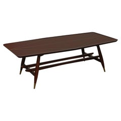 Frank Kyle Mexican Modern Mahogany and Brass Inlay Trestle Base Dining Table