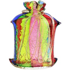Fratelli Toso Rainbow Ribbons Murano Glass Vase with Gold Flecks