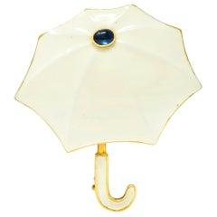 Fred Joaillier French Retro Sapphire 18 Karat Gold Enamel Umbrella Brooch