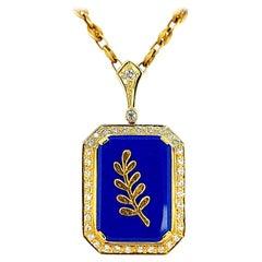 Freemasonry 18 Karat Solid Yellow Golden Necklace with Diamonds and Lapis Lazuli
